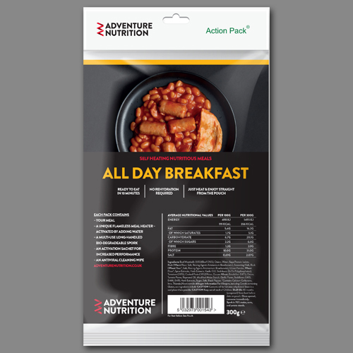 Adventure Nutrition Action Pack, 300g Self Heating Meal  ALL DAY BREAKFAST