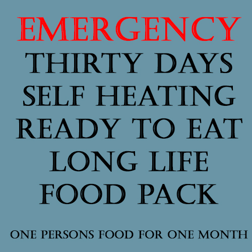 Emergency, Long Life, Ready to Eat, Self Heating 30 Day Food Pack