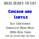 MRE Chicken & Lentils, 300g Ready to Eat Military Meals