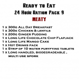 MRE Ready to eat 24 hour ration Pack 9 Meaty - 2019