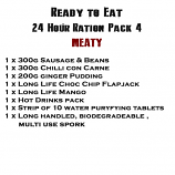 MRE Ready to eat 24 hour ration Pack 4 Meaty - 2019